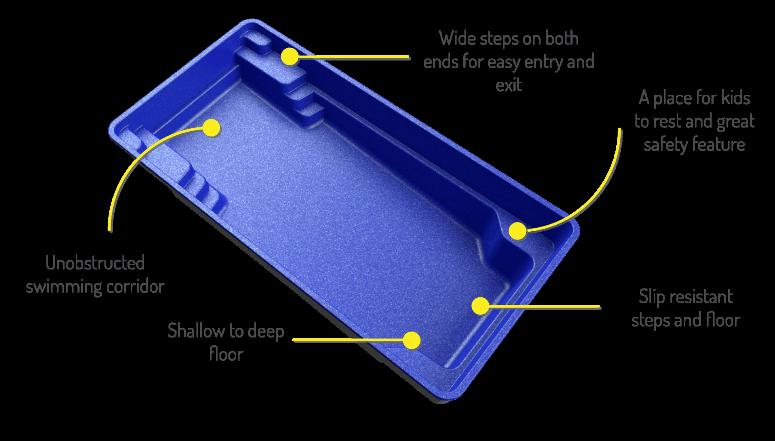 X Trainer fibreglass pool shape 3D model
