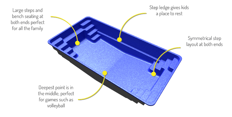 Contemporary fibreglass pool shape 3D